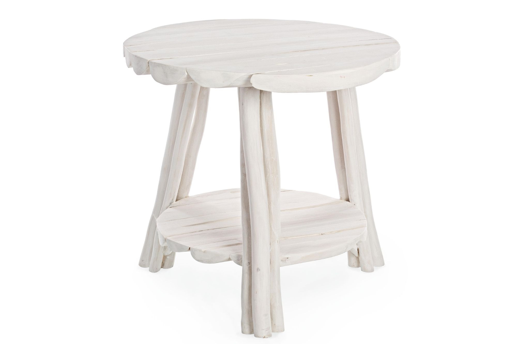 Table basse ronde en teck blanchi