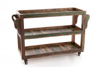 console ou bar à roulettes en bois recyclé coloré