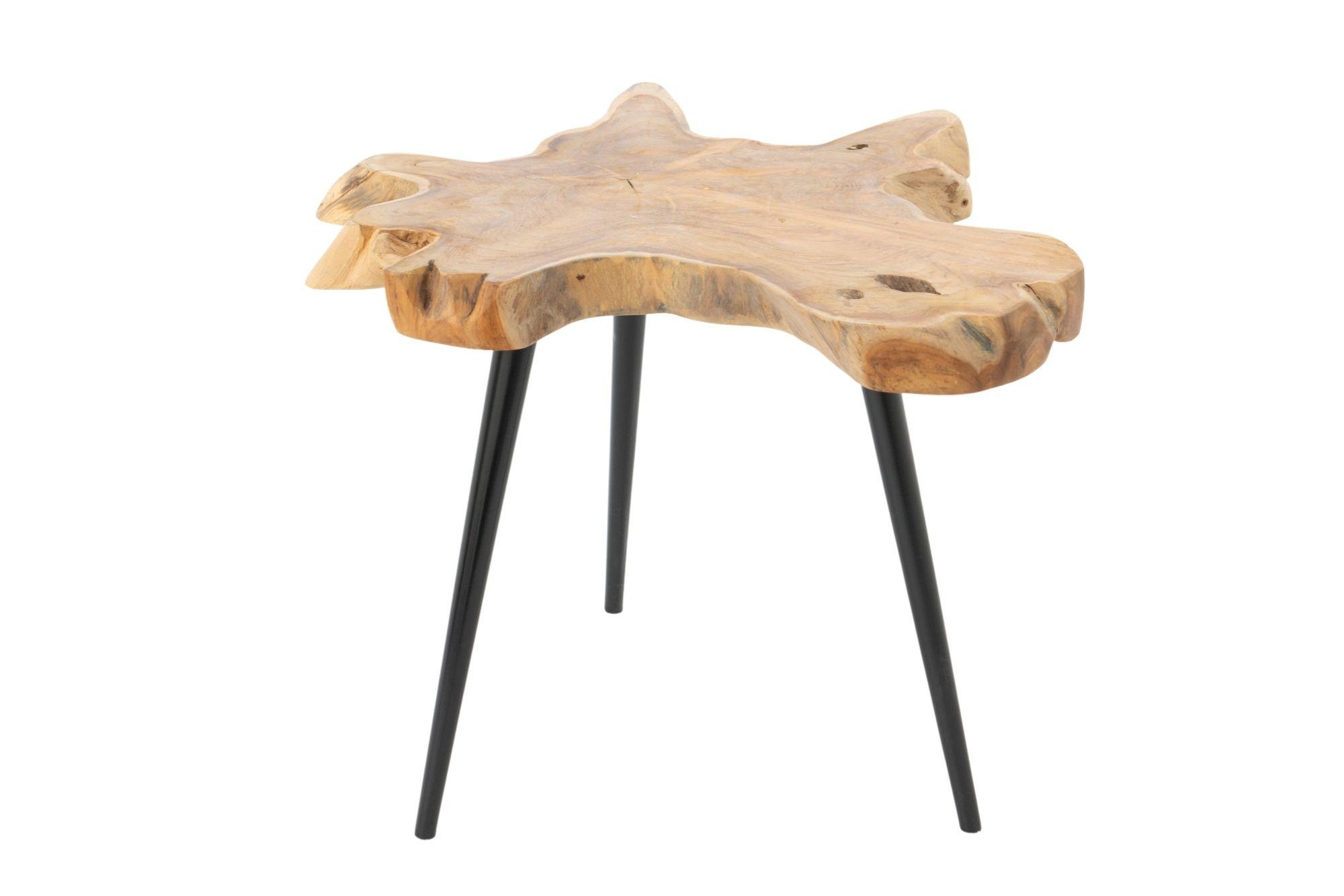 Table basse en teck et pieds en métal