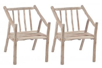 Lot de 2 chaises avec accoudoirs en bois nature