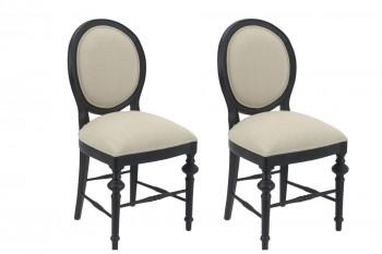 lot de deux chaises médaillon noir et tissu lin clair