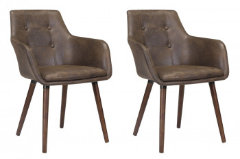 Lot de deux chaises en tissu marron avec accoudoirs