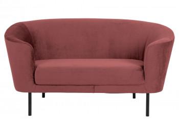 canapé droit 2 places en velours rose corail