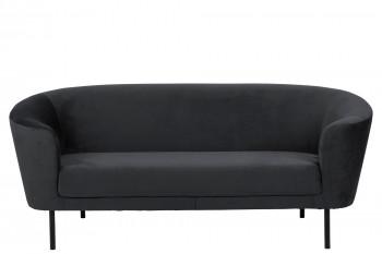Canapé droit 3 places en velours et métal - BILLY