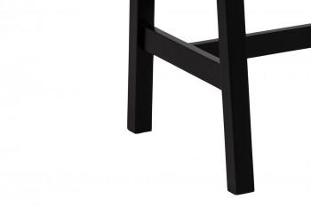 table de bar rectangulaire en bois couleur chêne et pieds noirs.
