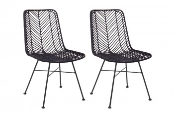 chaise en rotin noir