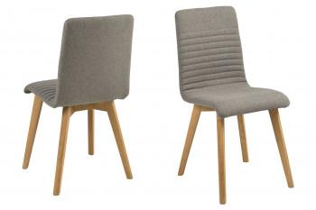 Chaises tissu et bois chêne - ROSA (Lot de 2)