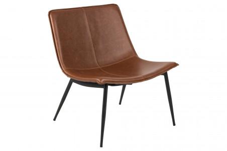 fauteuil lounge marron en simili et pieds en métal