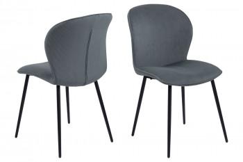 Chaise de salle à manger en velours et métal (lot de 2) - LINA