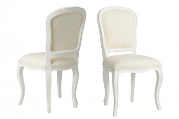 lot de deux chaises médaillon en bois blanc
