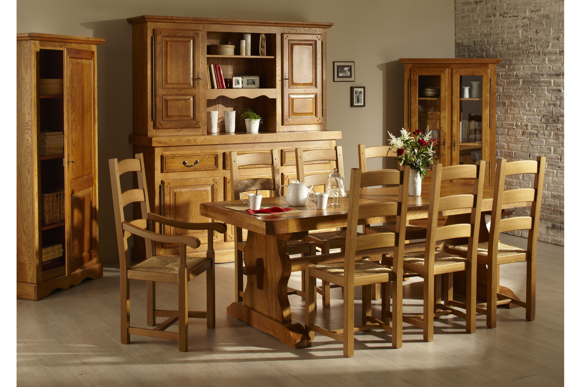 salle a manger complete de style rustique bois massif hellin