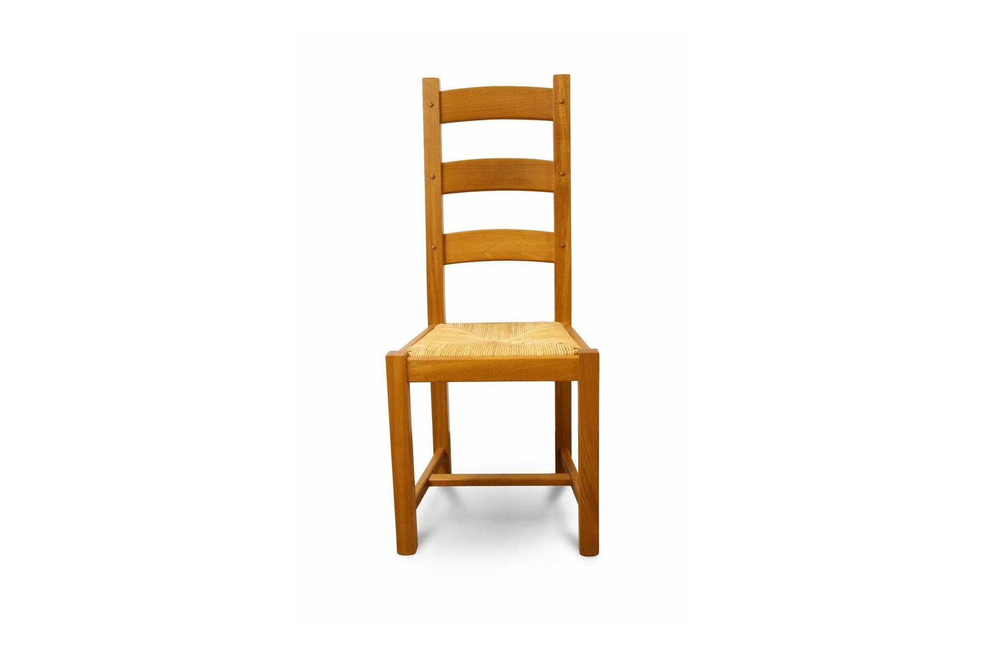 chaise rustique en ch ne massif et assise paille hellin. Black Bedroom Furniture Sets. Home Design Ideas