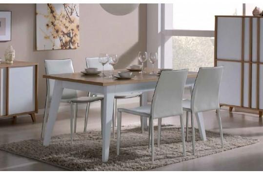 Table extensible moderne  MONDRIAN - coloris blanc/ivoire