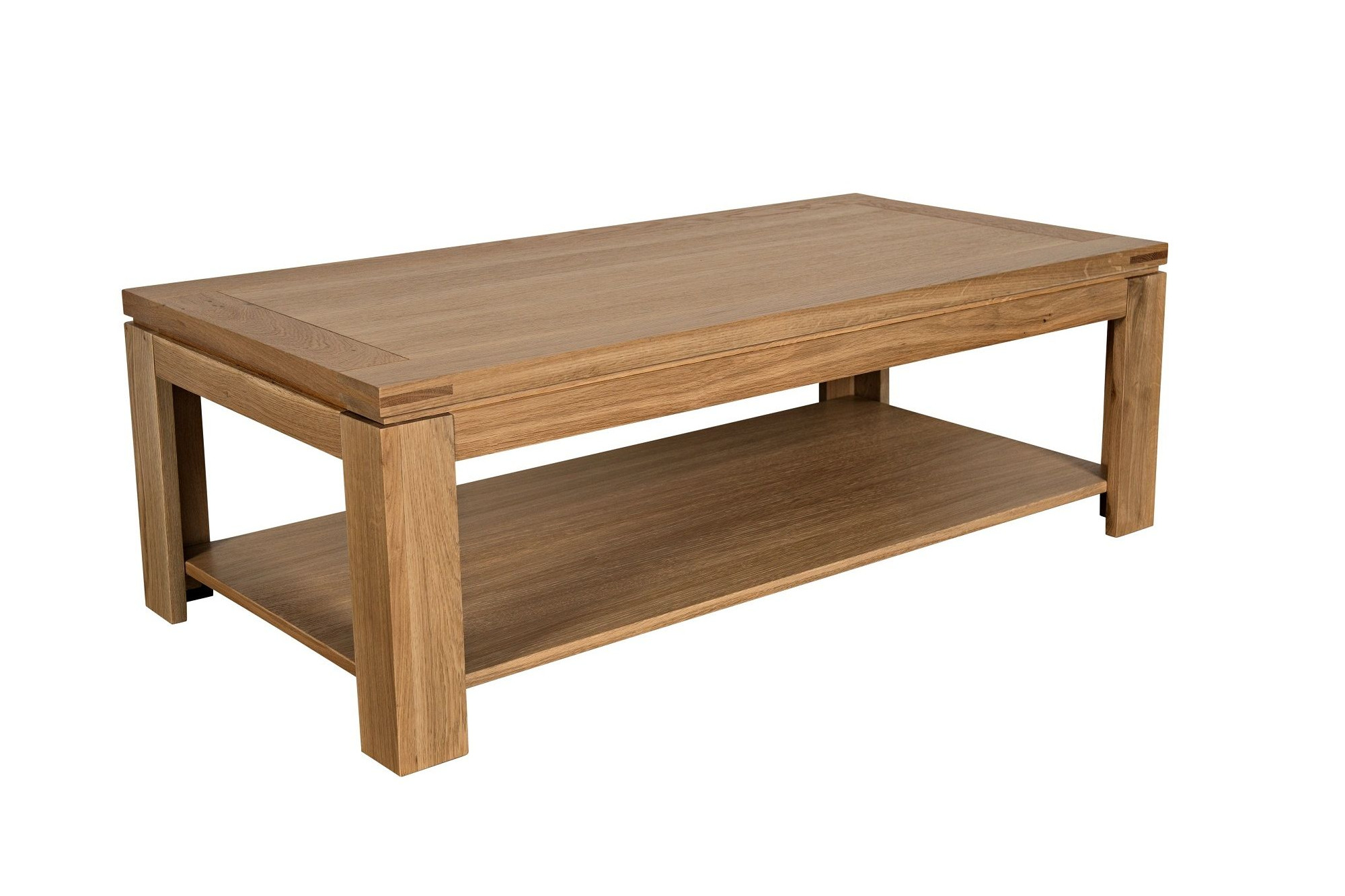 Table basse moderne en bois massif chene de france hellin - Table salon moderne ...