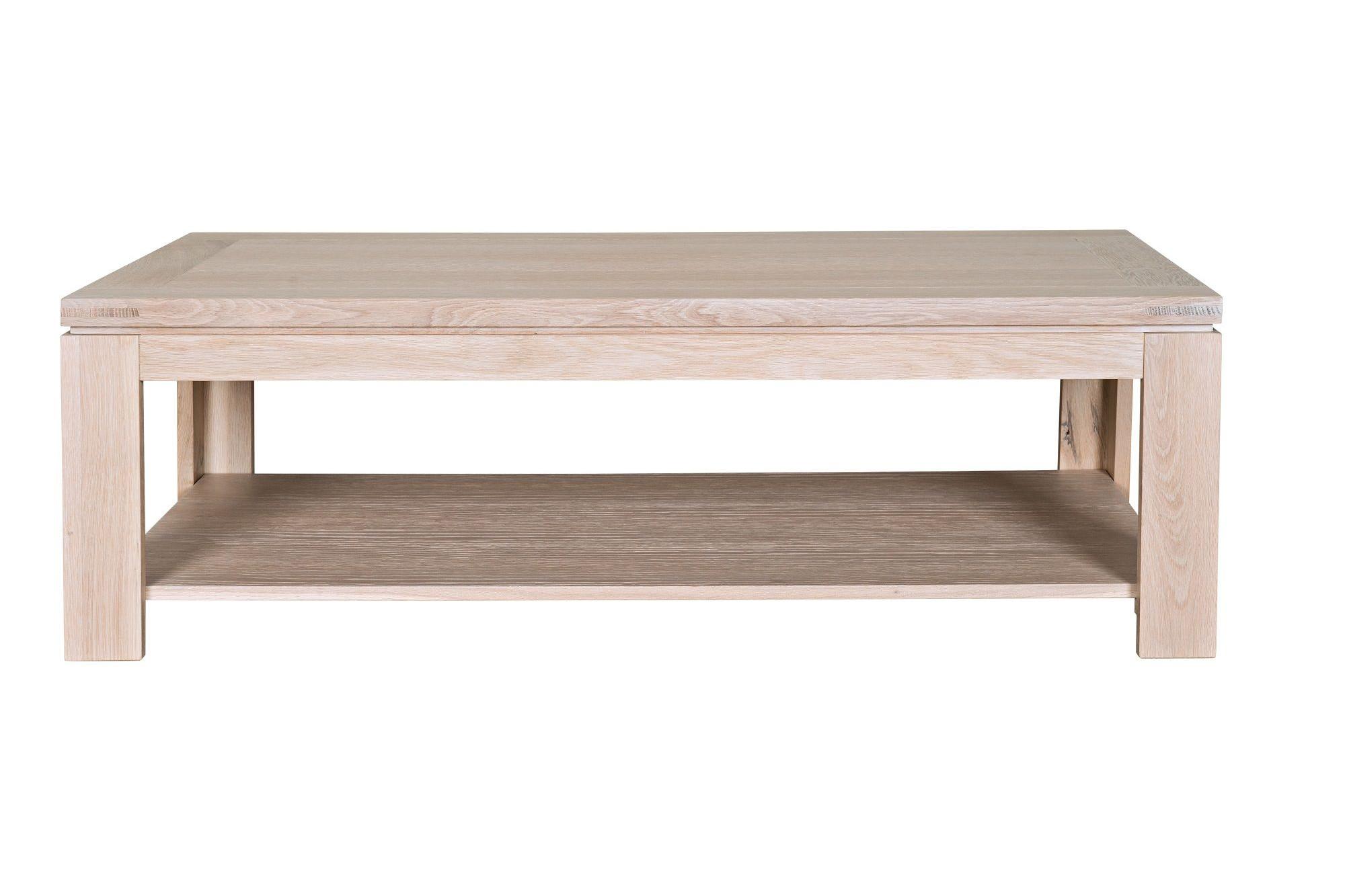 Table En Bois Chene Clair table basse rectangle boston en bois finition chêne blanchi - hellin