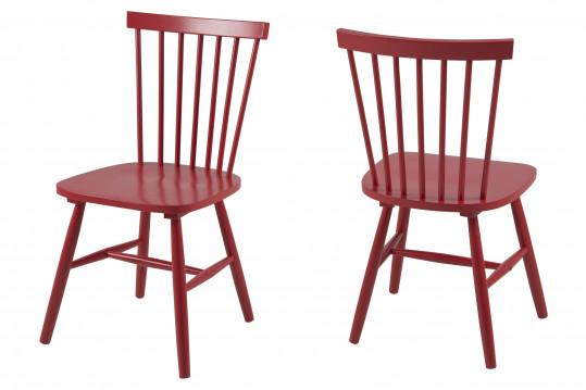 Lot de 2 chaises bois hévéa TOLEDO - coloris rouge