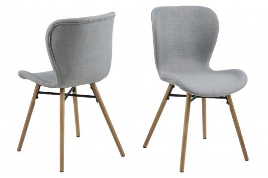 Lot de 2 chaises tissu et bois - Chêne MATILDA - Gris clair