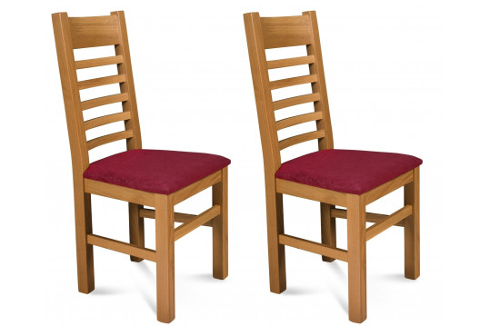 Lot de 2 Chaises Boston en chêne clair - Assise Prune