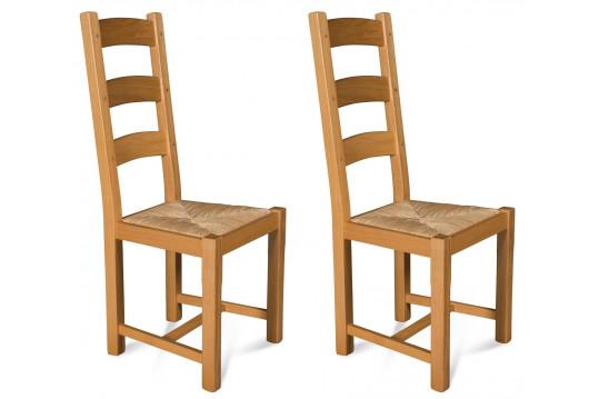Chaises en chêne clair - assise paille - La BRESSE (Lot de 2)