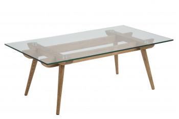 Table basse moderne en bois et verre PAIXA