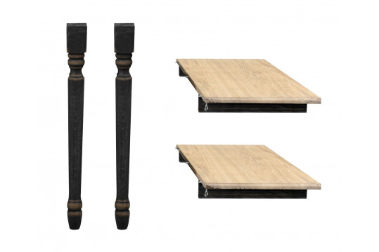 Lot de 2 rallonges bois -115 cm - pieds tournés -  table ronde VICTORIA