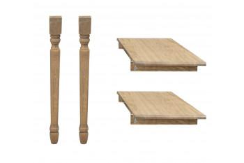 Lot de 2 rallonges bois -105 cm - pieds tournés -  table ronde VICTORIA