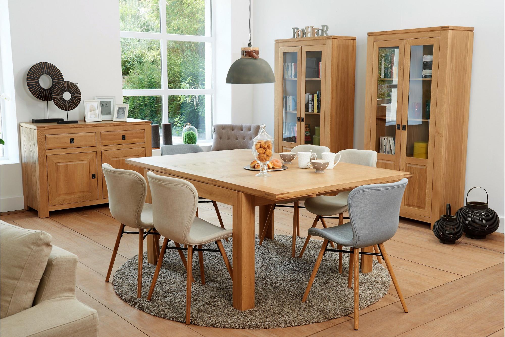 Table extensible carr e en ch ne clair collection boston Meuble bois clair