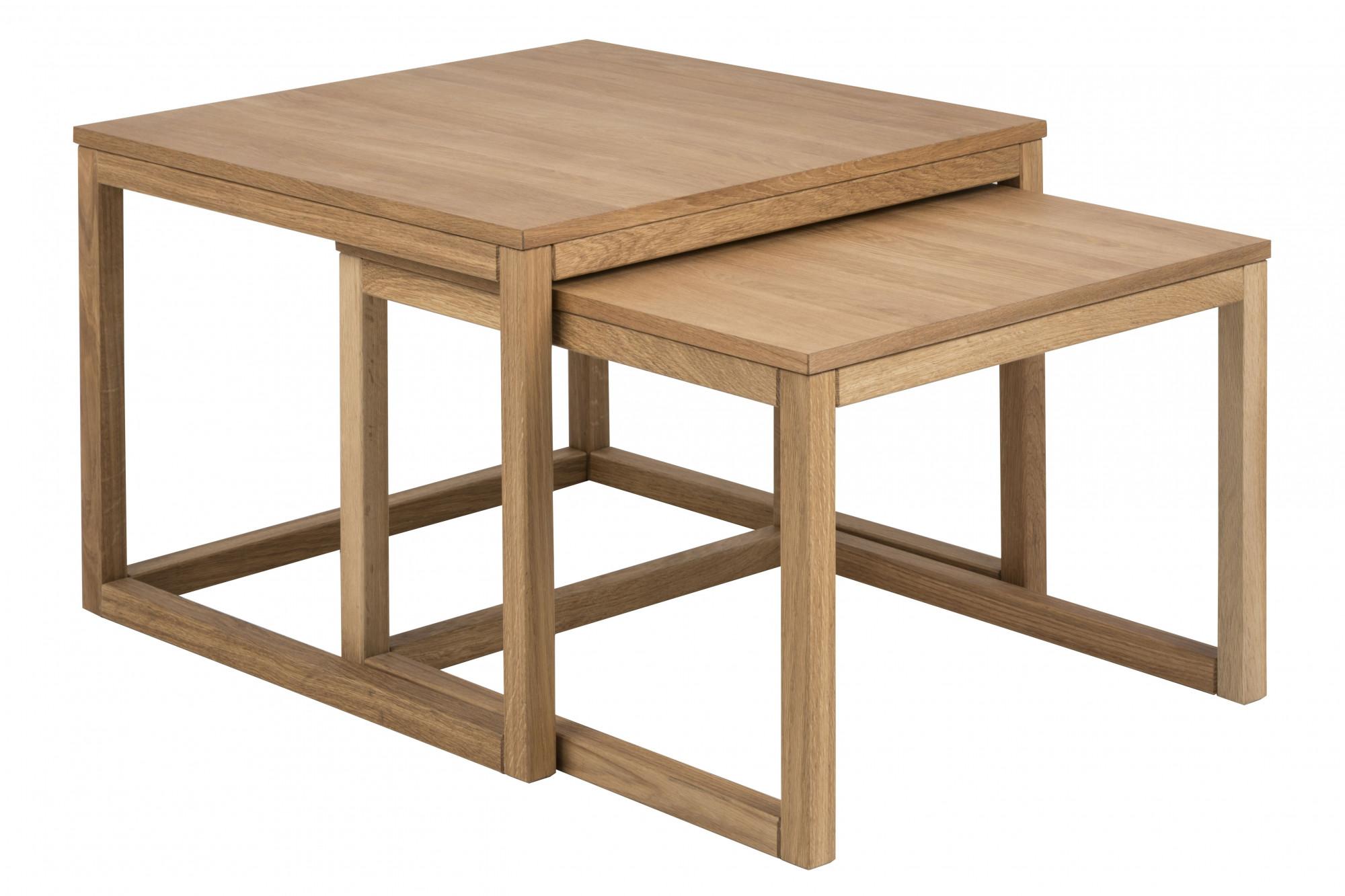 Table De Salon Gigogne.Table Basse Carree En Chene Modele Gigogne Hellin