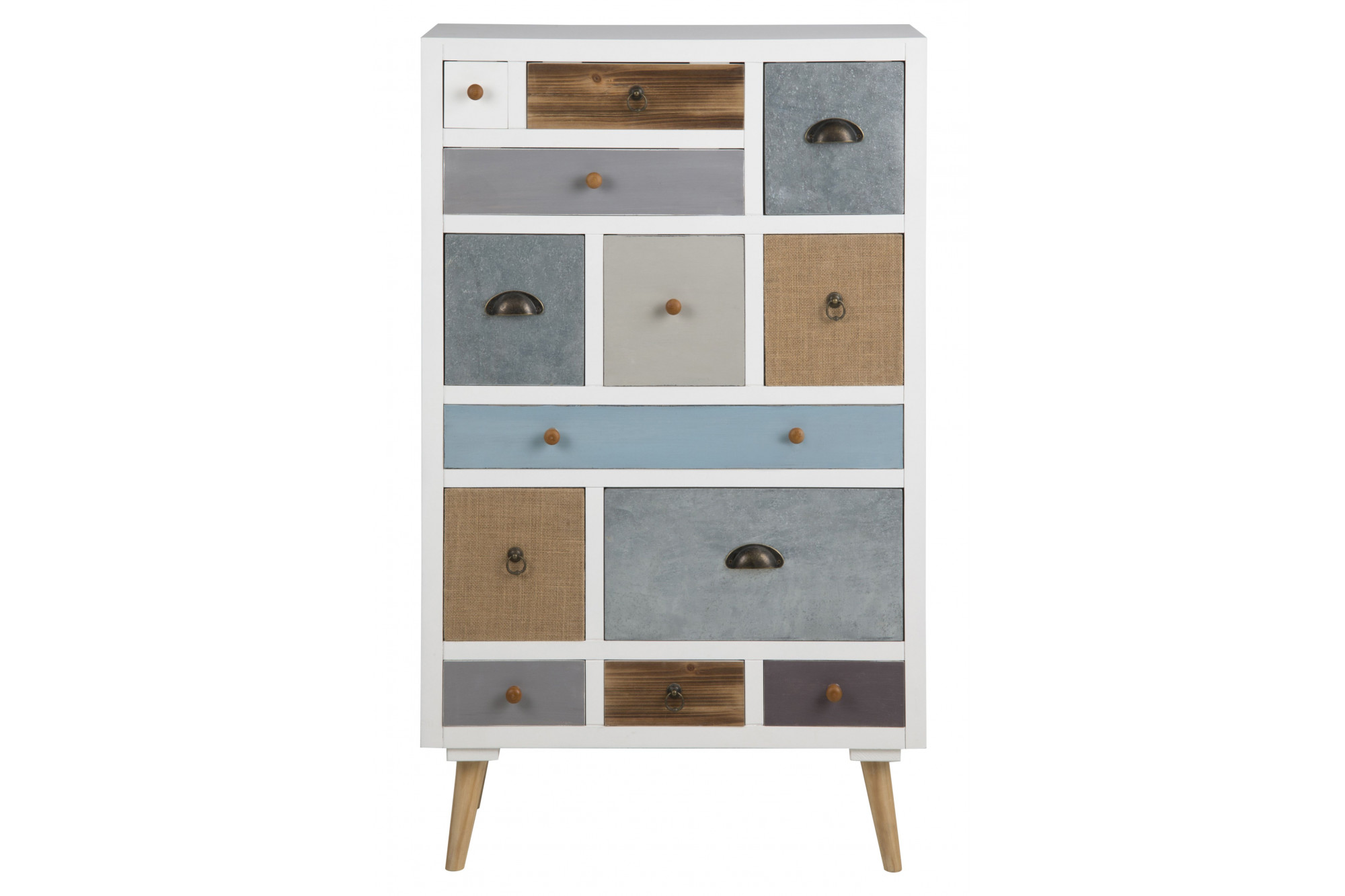 commode en bois originale et color e 13 tiroirs hellin. Black Bedroom Furniture Sets. Home Design Ideas