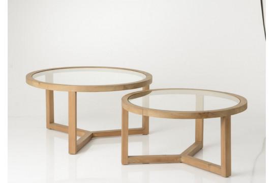 LOT DE 2 TABLES BASSES BORR, bois massif