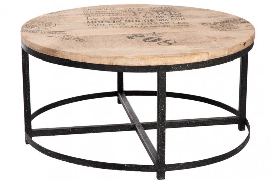 TABLE BASSE RONDE BOIS/METAL