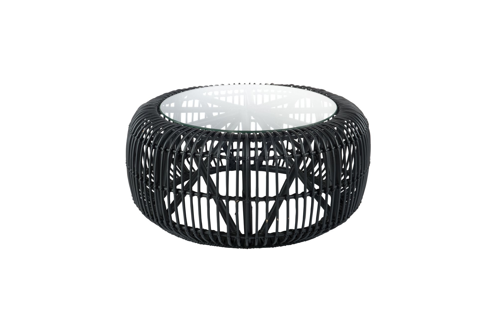 Table Basse Ronde En Rotin Noir Et En Verre Hellin