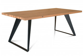Table à manger moderne FILIGRAME en chêne, pieds métal