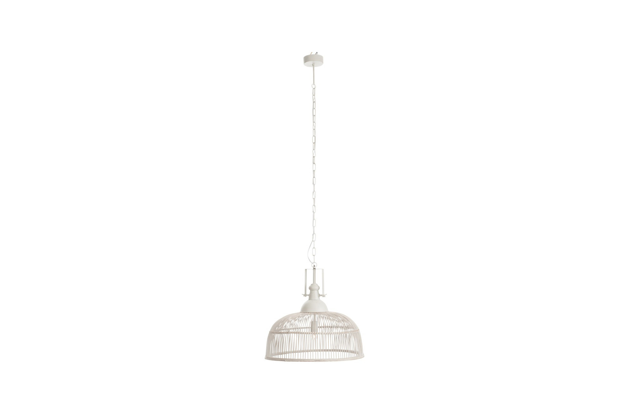 Luminaire Suspendu Metal Et Rotin Blanc Hellin