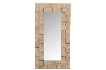 Miroir rectangulaire avec carré en bois naturel