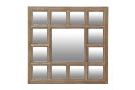 Miroir 13 parties - bois naturel